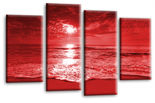 Sunset Seascape Canvas Picture Wall Art Beach Print Red Cream